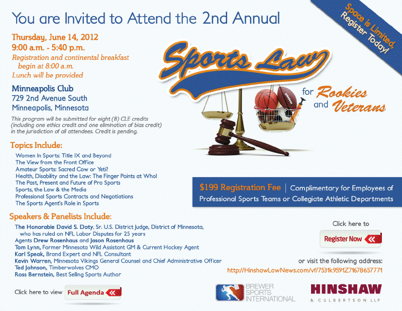 2nd Annual Sports Law Seminar for Rookies and Veterans