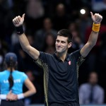Nov 13, 2012; Novak Djokovic reacts during his match against Roger Federer during the ATP World Tour Finals at the O2 Arena. Credit: Presse Sports via US PRESSWIRE