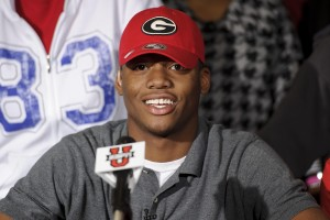 In 2012, Lowndes High School outside linebacker Josh Harvey-Clemons announced that he would be signing with the Georgia Bulldogs on national signing day. Credit: Paul Abell-US PRESSWIRE