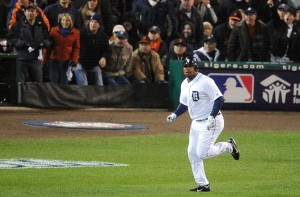 Detroit Tigers designated hitter Delmon Young watches the flight of his solo home run against the San Francisco Giants. Credit: Tim Fuller-USA TODAY Sports.