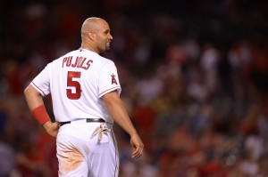 Los Angeles Angels first baseman Albert Pujols (5). Credit: Jake Roth-US PRESSWIRE