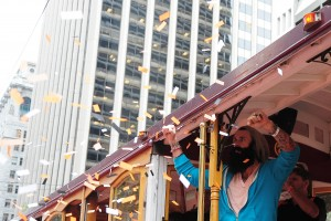 San Francisco Giants pitcher Brian Wilson waves to the crowd while riding in a cable car during the World Series victory parade at Market Street. Credit: Kyle Terada-US PRESSWIRE