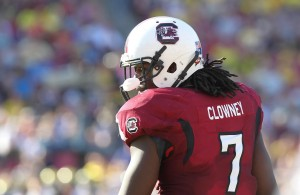 South Carolina Gamecocks defensive end Jadeveon Clowney (7) against the Michigan Wolverines during the second half of the 2013 Outback Bowl at Raymond James Stadium. South Carolina Gamecocks defeated the Michigan Wolverines 33-28. Mandatory Credit: Kim Klement-USA TODAY Sports