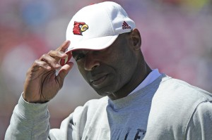 Louisville Cardinals head coach Charlie Strong looks toward the sideline during the spring game at Papa Johns Cardinal Stadium. Mandatory Credit: Jamie Rhodes-USA TODAY Sports