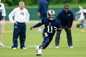 St. Louis Rams wide receiver Tavon Auston (11) runs a drill during rookie minicamp at Rams Park. Mandatory Credit: Scott Kane-USA TODAY Sports