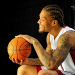 Miami Heat forward Michael Beasley (8) during media day at American Airlines Arena. Mandatory Credit: Steve Mitchell-USA TODAY Sports