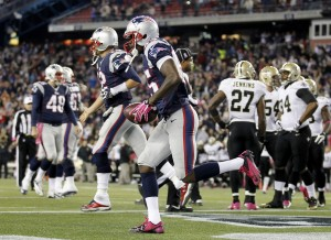 New England Patriots wide receiver Kenbrell Thompkins (85) runs off the field after scoring the game winning touchdown against against the New Orleans Saints during the fourth quarter at Gillette Stadium. The Patriots defeated the Saints 30-27. Mandatory Credit: Stew Milne-USA TODAY Sports