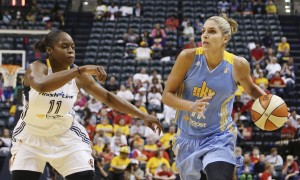 Chicago Sky forward Elena Delle Donne (11) drives to the basket against Indiana Fever forward Karima Christmas (11) at Bankers Life Fieldhouse. Mandatory Credit: Brian Spurlock-USA TODAY Sports