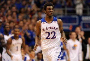 Kansas Jayhawks guard Andrew Wiggins (22) celebrates after scoring during the second half of the game against the Louisiana Monroe Warhawks at Allen Fieldhouse. Kansas won 80 - 63. Mandatory Credit: Denny Medley-USA TODAY Sports