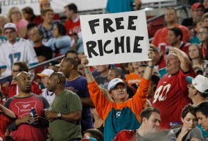 "Miami Dolphins fan hold up a sign for Miami Dolphins guard Richie Incognito (68) (not pictured) sign that says ""Free Richie"" during the second half against the Tampa Bay Buccaneers at Raymond James Stadium. Mandatory Credit: Kim Klement-USA TODAY Sports"