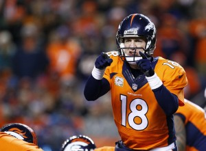 Denver Broncos quarterback Peyton Manning (18) in the first quarter against the Kansas City Chiefs at Sports Authority Field at Mile High. Mandatory Credit: Isaiah J. Downing-USA TODAY Sports