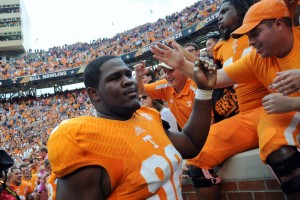 Tennessee Volunteers defensive lineman Daniel McCullers (98) reacts after defeating the South Carolina Gamecocks on a last second field goal at Neyland Stadium. Tennessee won 23 to 21. Mandatory Credit: Randy Sartin-USA TODAY Sports