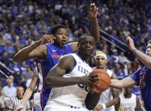 Kentucky Wildcats forward Julius Randle (30) dribbles the ball against the Boise State Broncos in the second half at Rupp Arena. Kentucky defeated Boise State 70-55. Mandatory Credit: Mark Zerof-USA TODAY Sports