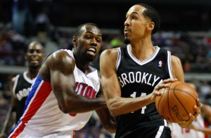 Brooklyn Nets point guard Shaun Livingston (14) tries to dribble around Detroit Pistons shooting guard Rodney Stuckey (3) during the second quarter at The Palace of Auburn Hills. Mandatory Credit: Raj Mehta-USA TODAY Sports