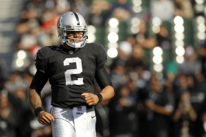 Oakland Raiders quarterback Terrelle Pryor (2) stands on the field before the start of the game against the Kansas City Chiefs at O.co Coliseum. Mandatory Credit: Cary Edmondson-USA TODAY Sports