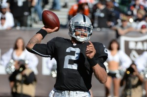 Oakland Raiders quarterback Terrelle Pryor (2) passes the football against the Denver Broncos during the first quarter at O.co Coliseum. Mandatory Credit: Kyle Terada-USA TODAY Sports