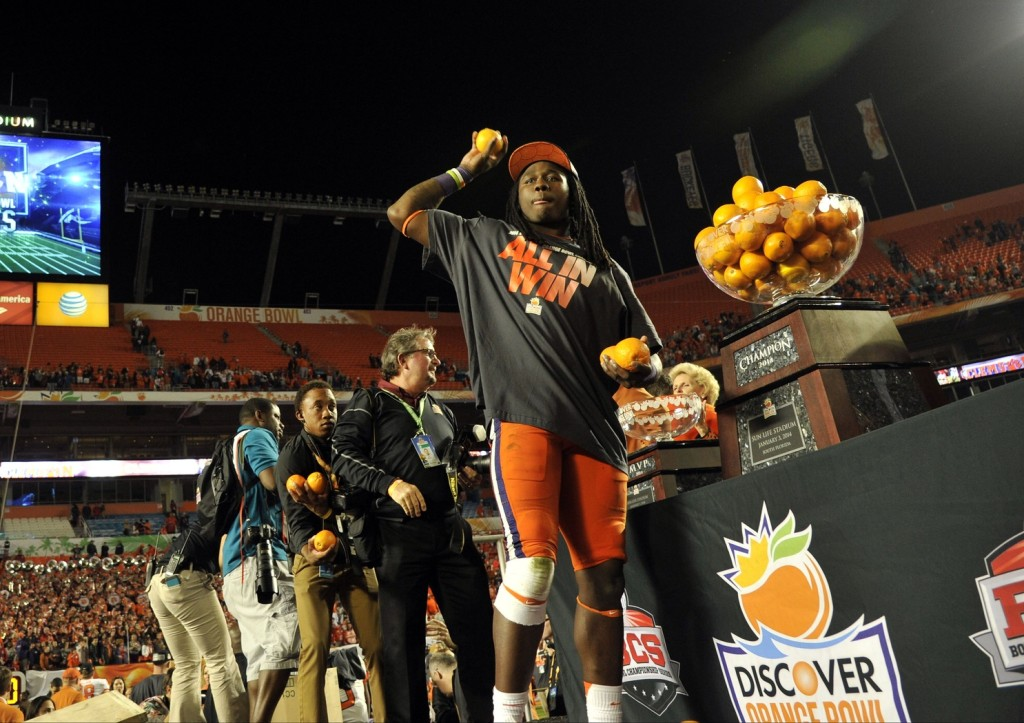 Clemson Tigers wide receiver Sammy Watkins (2) tosses oranges to the crowd after the 2014 Orange Bowl at Sun Life Stadium. Clemson defeated Ohio State 40-35. Mandatory Credit: Brad Barr-USA TODAY Sports