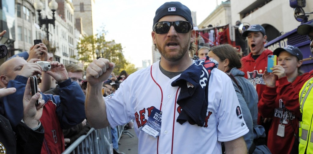 Boston Red Sox pitcher Ryan Dempster walks along Boylston Street during the World Series parade and celebration. Mandatory Credit: Bob DeChiara-USA TODAY Sports