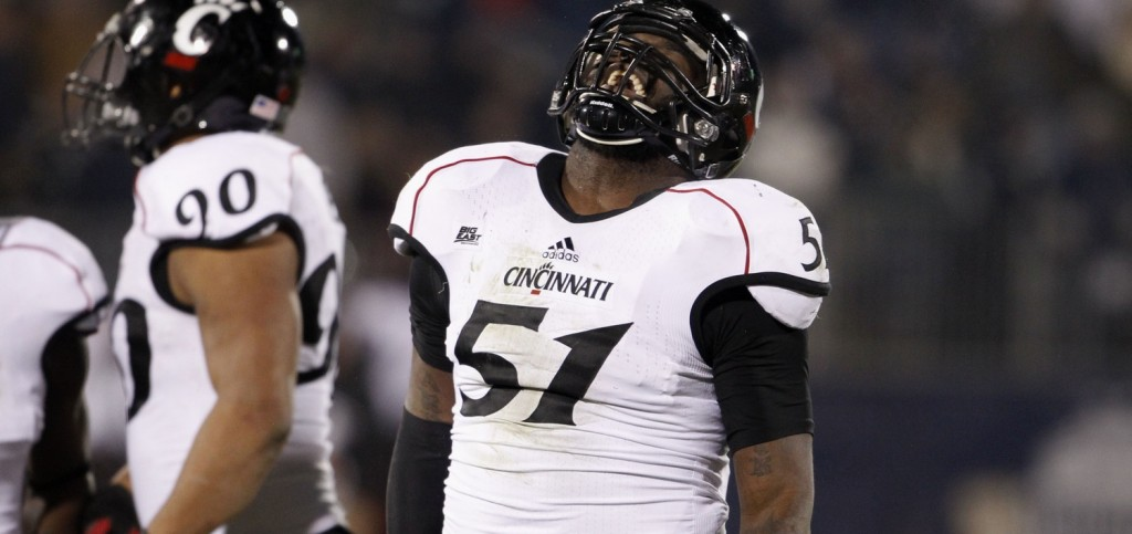 Cincinnati Bearcats linebacker Greg Blair (51) reacts after missing an interception during the second half against the Connecticut Huskies at Rentschler Field. The Bearcats defeated UConn, 34-17. Photo Credit: David Butler II-USA TODAY Sports