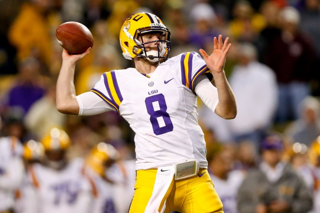 LSU Tigers quarterback Zach Mettenberger (8) throws against the Texas A&M Aggies during the second half of a game at Tiger Stadium. LSU defeated Texas A&M 34-10. Mandatory Credit: Derick E. Hingle-USA TODAY Sports