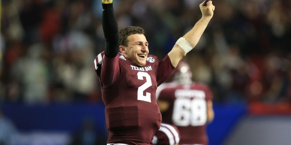 Texas A&M Aggies quarterback Johnny Manziel (2) reacts to a fourth-quarter interception against the Duke Blue Devils in the 2013 Chick-fil-A Bowl at the Georgia Dome. Mandatory Credit: Daniel Shirey-USA TODAY Sports