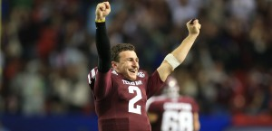 Texas A&M Aggies quarterback Johnny Manziel (2) reacts to a fourth-quarter interception against the