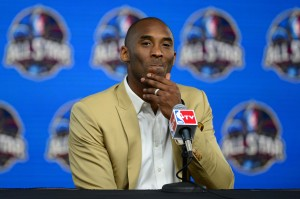 Los Angeles Lakers guard Kobe Bryant speaks during a press conference before the 2014 NBA All-Star Game at the Smoothie King Center. Mandatory Credit: Bob Donnan-USA TODAY Sports