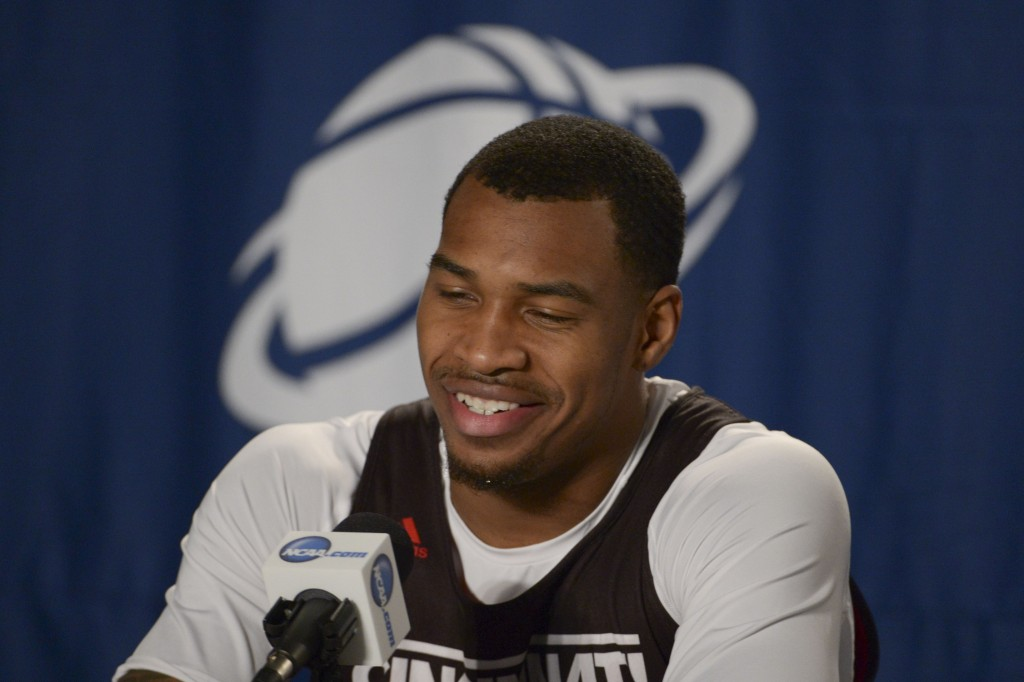 Cincinnati Bearcats guard Sean Kilpatrick (23) addresses the media in a press conference during practice before the second round of the 2014 NCAA Tournament at Veterans Memorial Arena. Mandatory Credit: Kirby Lee-USA TODAY Sports