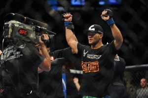 Robbie Lawler (blue gloves) is declared the winner after his welterweight bout during UFC 167 at MGM Grand Garden Arena. Mandatory Credit: Stephen R. Sylvanie-USA TODAY Sports