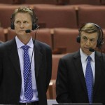 TV announcers Steve Kerr (left) and Marv Albert (right) announce before the semifinals of the west regional of the 2014 NCAA Mens Basketball Championship tournament between the Wisconsin Badgers and the Baylor Bears at Honda Center. Mandatory Credit: Robert Hanashiro-USA TODAY Sports