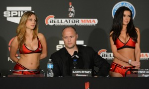 Bellator chief executive officer Bjorn Rebney at the post fight press conference after the Bellator MMA fight night at the Long Beach Arena. Alvarez won the fight. Mandatory Credit: Jayne Kamin-Oncea-USA TODAY Sports
