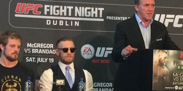 Connor McGregor at the UFC Dublin press conference. Photo courtesy of Darren Heitner, Sports Agent Blog.
