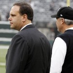 New York Jets general manager Mike Tannenbaum (left) and head coach Rex Ryan before the game against the Arizona Cardinals at Metlife Stadium. Mandatory Credit: William Perlman/THE STAR-LEDGER via USA TODAY Sports