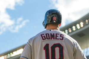 Cleveland Indians catcher Yan Gomes (10) in the on deck circle against the Minnesota Twins at Target Field. Mandatory Credit: Brad Rempel-USA TODAY Sports