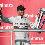 Mercedes driver Lewis Hamilton (44) of Great Britain celebrates winning the 2014 U.S. Grand Pri