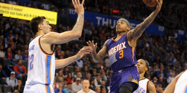 Phoenix Suns guard Isaiah Thomas (3) attempts a shot against Oklahoma City Thunder center Steven Adams (12) during the first quarter at Chesapeake Energy Arena. Mandatory Credit: Mark D. Smith-USA TODAY Sports