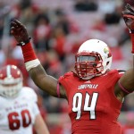 Louisville Cardinals defensive end Lorenzo Mauldin (94) reacts during the second half of play against the North Carolina State Wolfpack at Papa John's Cardinal Stadium. Louisville defeated North Carolina State 30-18. Mandatory Credit: Jamie Rhodes-USA TODAY Sports