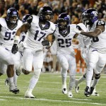 TCU Horned Frogs safety Sam Carter (17) celebrates with teammates after intercepting a pass against the Texas Longhorns during the game at Darrell K Royal-Texas Memorial Stadium. Mandato