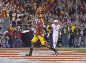 Dec 27, 2014; San Diego, CA, USA; Southern California Trojans receiver Nelson Agholor (15) celebrates after scoring on a 17-yard touchdown reception in the second quarter against the Nebraska Cornhuskers in the 2014 Holiday Bowl at Qualcomm Stadium. Mandatory Credit: Kirby Lee-USA TODAY Sports