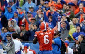 Florida Gators defensive lineman Dante Fowler (6) looks to the crowd at the close of the game agains the East Carolina Pirates in the 2015 Birmingham Bowl at Legion Field. Mandatory Credit: Marvin Gentry-USA TODAY Sports