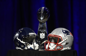 Jan 30, 2015; Phoenix, AZ, USA; General view of the Vince Lombardi Trophy and helmets for the Seattle Seahawks and New England Patriots during a press conference for Super Bowl XLIX at Phoenix Convention Center. Mandatory Credit: Kyle Terada-USA TODAY Sports