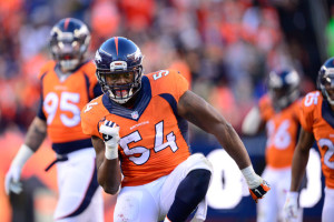 Broncos LB Brandon Marshall celebrates an interception. Via DenverPost.com.