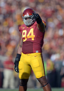 Leonard Williams (94) gestures against the Fresno State Bulldogs. Mandatory Credit: Kirby Lee-USA TODAY Sports