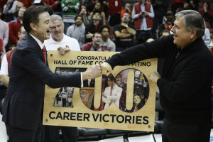 Head Coach Rick Pitino and AD Tom Jurich help run College Basketball's most profitable team (Credit: Jamie Rhodes-USA TODAY Sports)