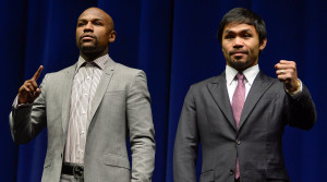 Floyd Mayweather and Manny Pacquiao (Credit: Robert Hanashiro-USA TODAY Sports)