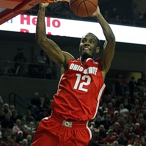 Sam Thompson soars for a dunk with the Ohio State Buckeyes. Via US Presswire.