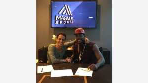 Marc Anthony and Magnus Sports first client, pitcher Aroldis Chapman. Photo via Magnus Media.