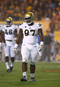 Sep 25, 2014; Tempe, AZ, USA; UCLA Bruins defensive lineman Kenny Clark (97) against the Arizona State Sun Devils at Sun Devil Stadium. UCLA defeated Arizona State 62-27. Mandatory Credit: Mark J. Rebilas-USA TODAY Sports