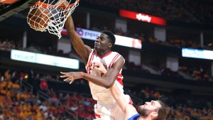 Houston Rockets C, Clint Capela, has signed with Wasserman. Photo via foxsports.com.