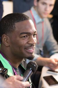 Feb 25, 2016; Indianapolis, IN, USA; North Carolina State quarterback Jacoby Brissett speaks to the media during the 2016 NFL Scouting Combine at Lucas Oil Stadium. Mandatory Credit: Trevor Ruszkowski-USA TODAY Sports